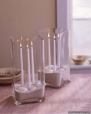 This is a great idea for a beach wedding Use candle adhesive to secure